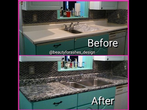 How To Paint A Faux Granite Countertop Under 100 Youtube