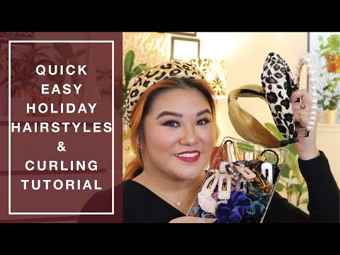 Quick Easy Holiday Hairstyles & Curling Tutorial 2019