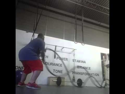 My client Tony Leven working the battle ropes.