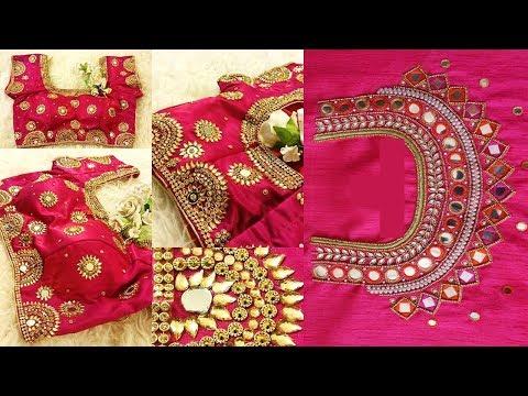 3de50c59e41245 Gorgeous Mirror Work Pink Blouse Designs 2019 - YouTube