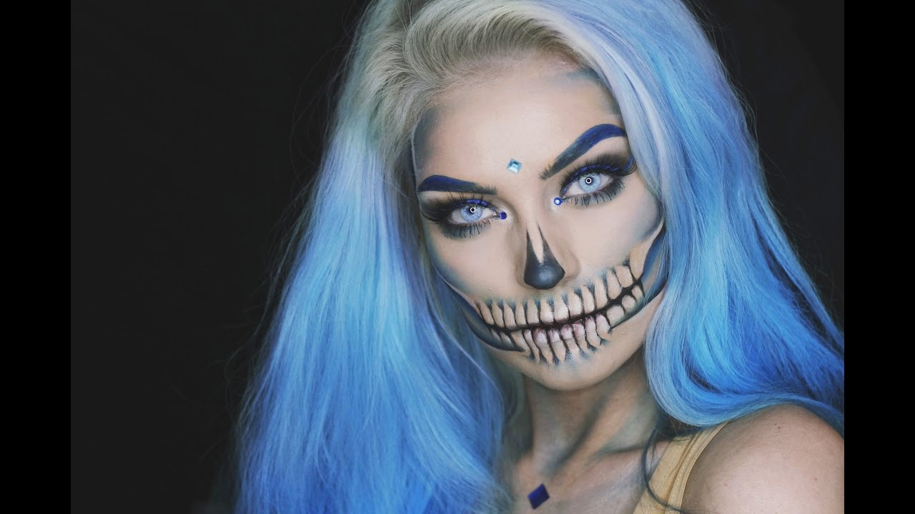 BLUE GLAM SKULL Halloween Makeup Tutorial - YouTube