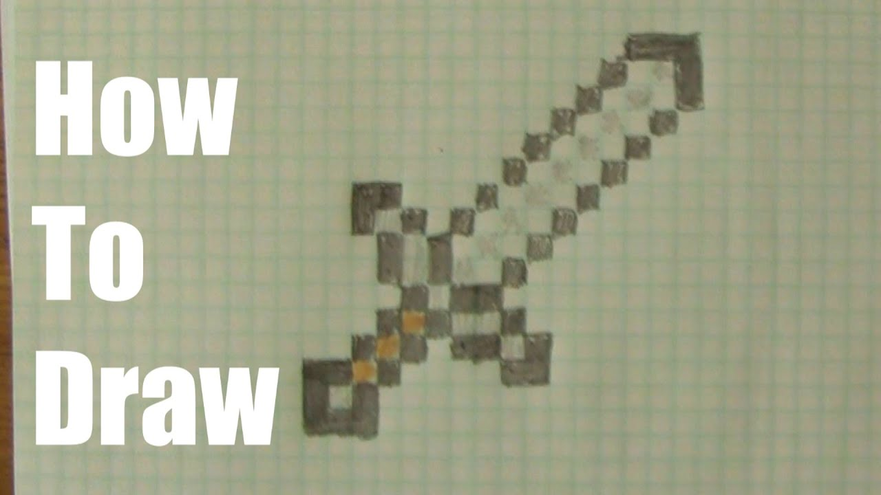 How To Draw a Minecraft Sword - YouTube