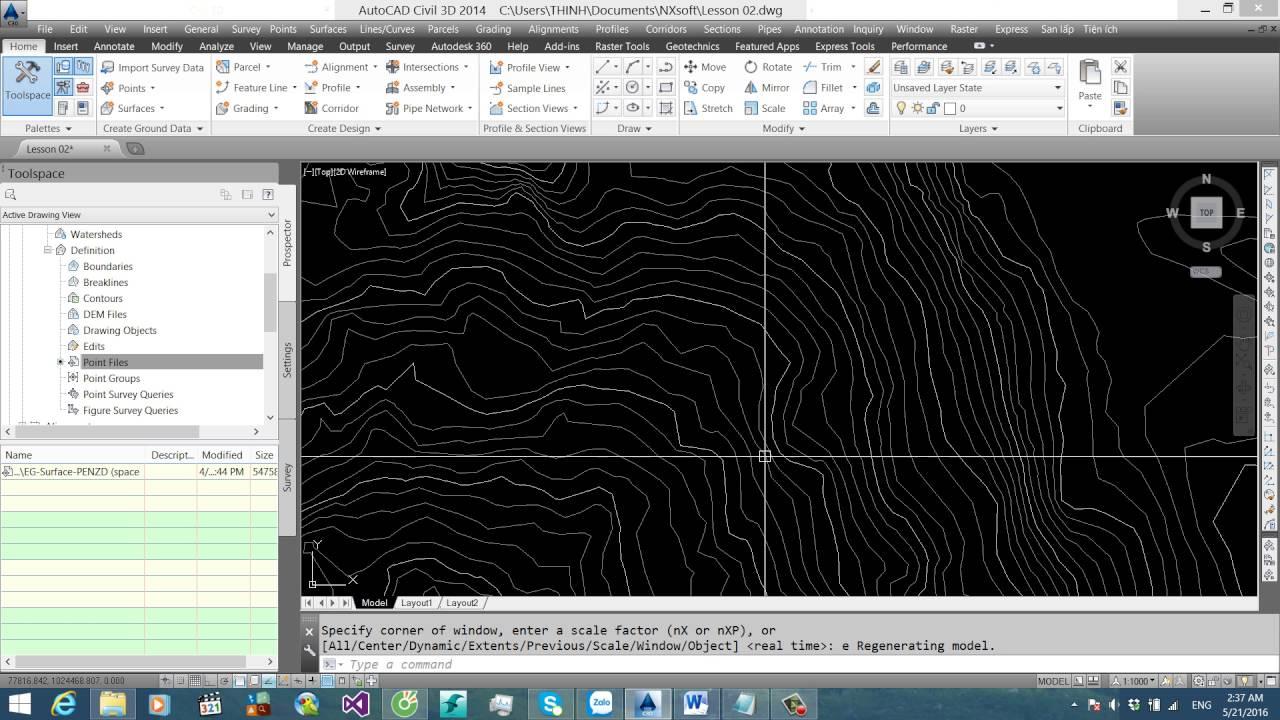 NXsoft & Civil 3D – Video 002: File điểm lỗi, tạo độ dốc, tạo taluy thay đổi với Grading.