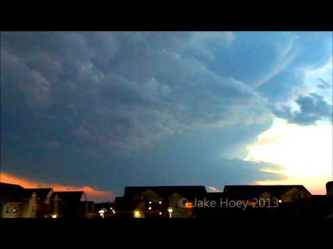 Splitting Supercell at Sunset Timelapse 3-30-13 Norman, OK
