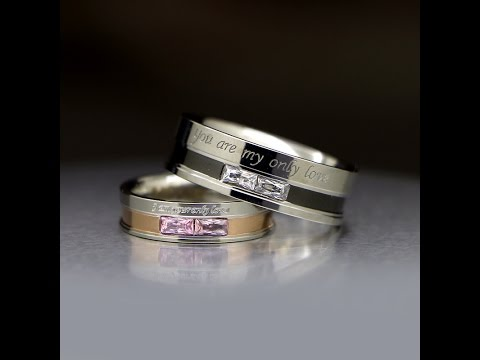 Engraved His and Hers Titanium Promise Rings