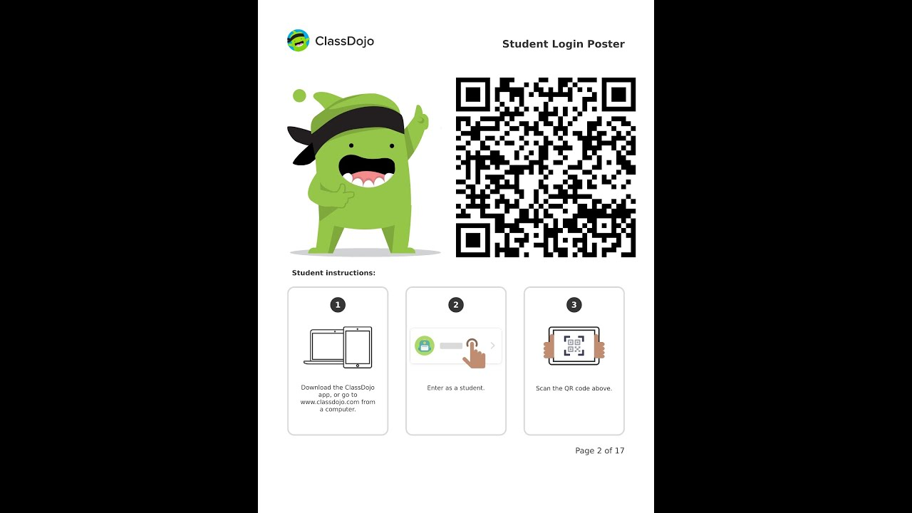 Class Dojo Student Login With Qr Code Youtube