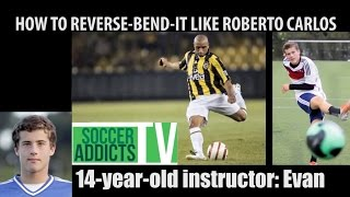 Roberto carlos free kick style | reverse curve free kicks  | 14-year-old instructor