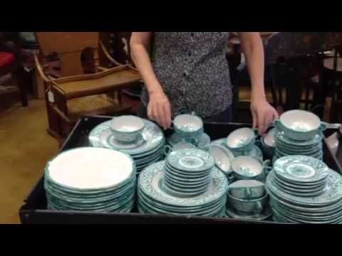 Antique China Deruta Italian Majolica Turquoise Dishware China Set From Gannonu0027s Antiques. - YouTube & Antique China Deruta Italian Majolica Turquoise Dishware China Set ...