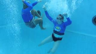 Tuesday, Elaine started to learn how to get out of a front float. T...
