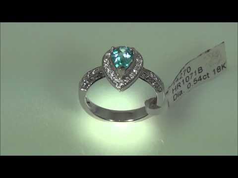 18K White Gold, 0.54 CT Diamond, Natural Blue Topaz ring, fancy