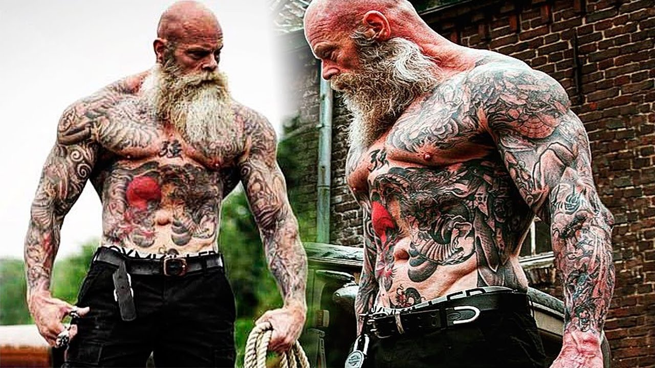 Workout Monster Old Tattooed Bodybuilder Motivational