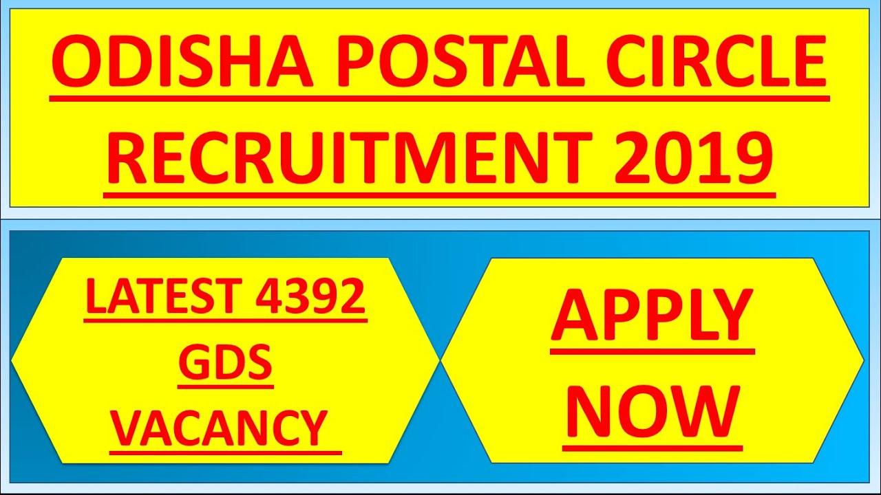 Odisha Postal Circle Recruitment 2019 Latest 4392 GDS Vacancy – Apply