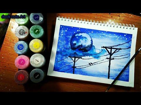 Vẽ tranh Galaxy mặt trăng cây cột điện đơn giản bằng màu nước Thiên Long.Painting Galaxy watercolor.