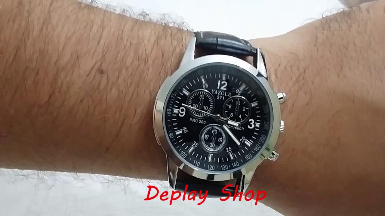 5f19c95804e Relógio Masculino Luxo Yazole Pulseira de Couro - YouTube