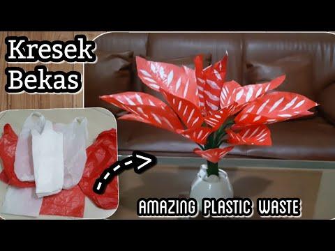 Cara membuat tanaman hias dari kresek bekas | DIY how to make  caladium tree with plastic bag