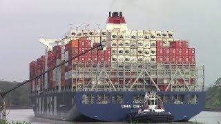 container ship cma cgm tanya at gamboa panama canal gaillard cut april 28 2017