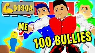 NOOB DISGUISE TROLLING!! NOOB VS *100* BULLIES THEN REVEALING *MAX* SIZE IN ROBLOX LIFTING SIMULATOR