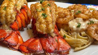 Shrimp Alfredo pasta with lobster tails