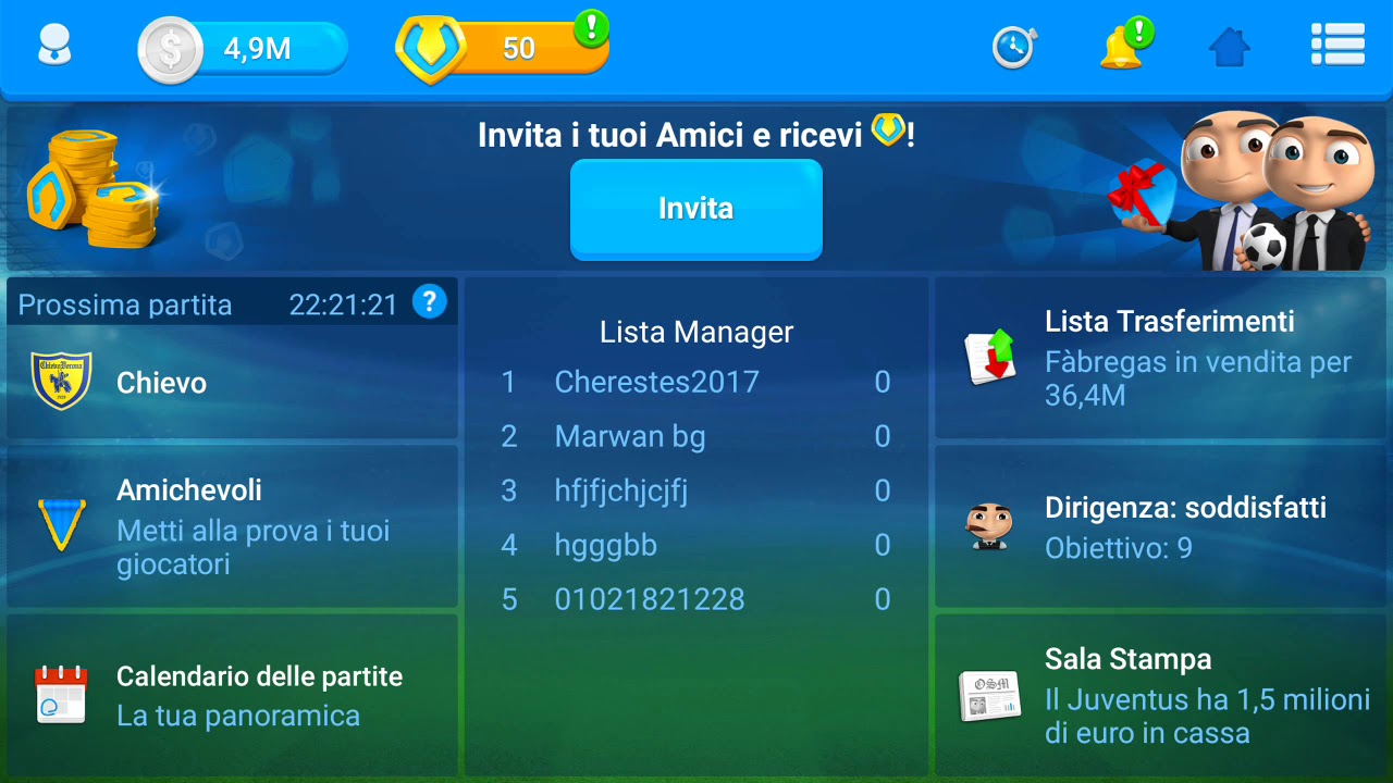 OSM Online Soccer Manager: coins, soldi e staff