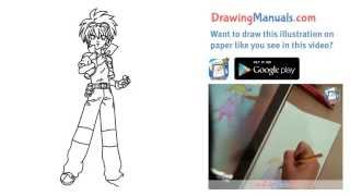 "How to Draw Daniel ""Dan"" Kuso, Bakugan, Anime Step-by-Step"