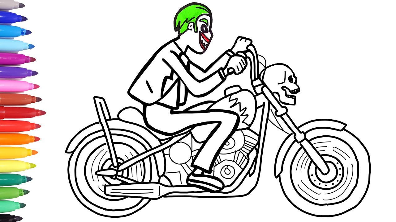 Joker motorcycle coloring pages superheroes villain motorbike bike coloring videos for kids