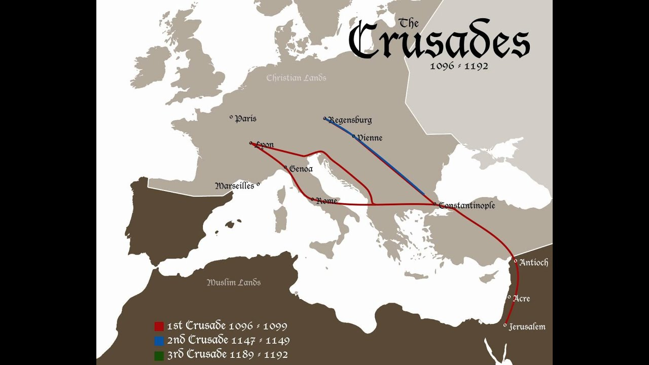 the crusades 1096 1192 invasion map youtube