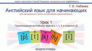 Английский язык для начинающих. Обучение чтению. Урок 1. Произношение английских звуков [p t k h]