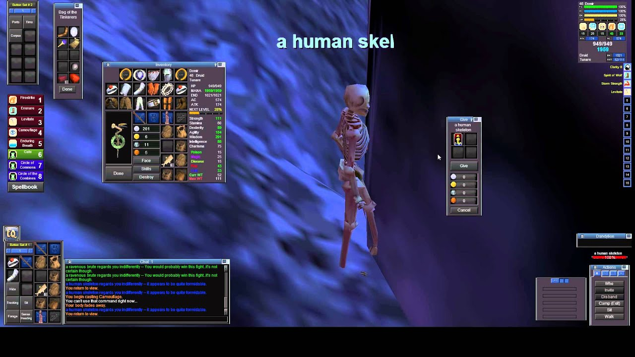 p99 druid epic documentation -- human skeleton - youtube, Skeleton