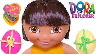 Dora La Exploradora Muñeca Feliz Cumpleaños 🎂 Dora en Ingles y Español Play Doh
