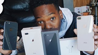 iPhone 8 & 8 Plus Unboxing: Black/Space Gray vs Gold!