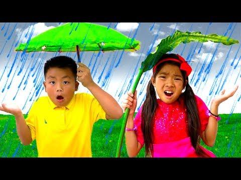 Rain Rain Go Away Song | Emma & Jannie Sing-Along Nursery Rhymes Kids Songs - Видео онлайн
