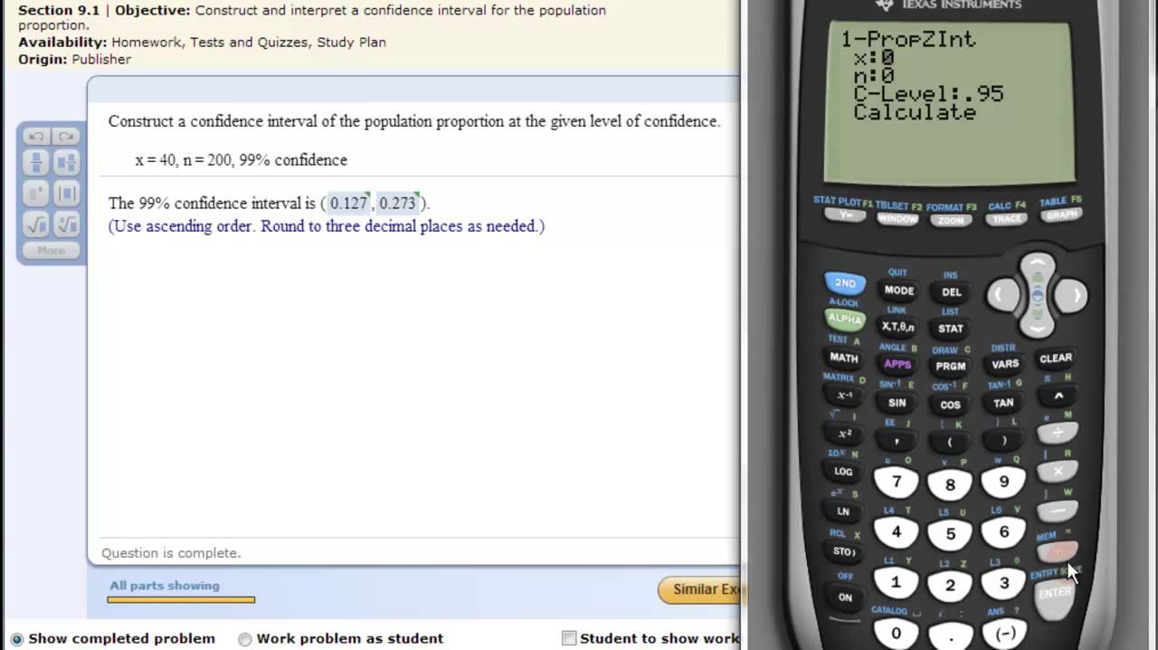 Ti Calculator Confidence Interval Population Proportion Youtube