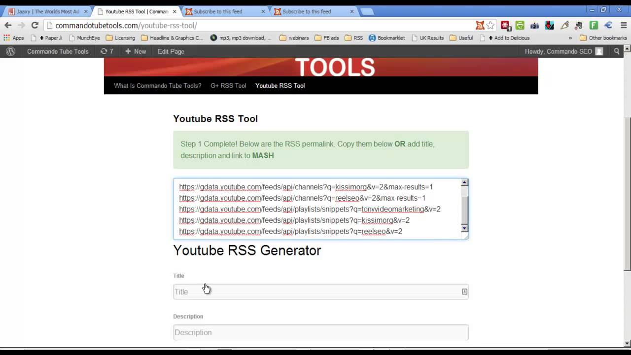 - Videos Favorites Generator Channel For Rss Playlists Feed Tool Youtube