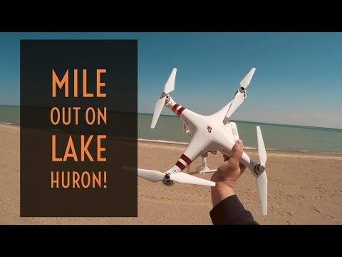 Video Drone  - Phantom 3 Over A Mile Out On Lake Huron!
