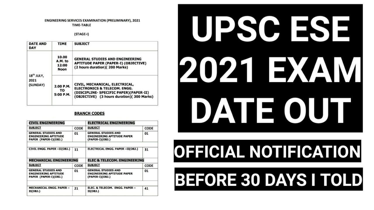 UPSC ESE EXAM DATE OUT OFFICIAL NOTIFICATION #IESPRE2021 #IES2021