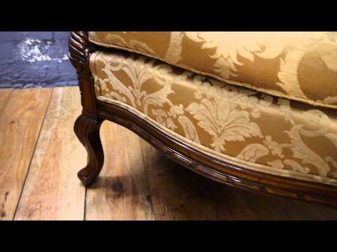 Two Large Reproduction Antique Carved Mahogany, Gold Fabric Armchairs