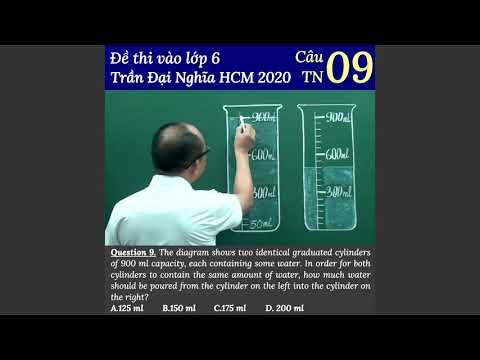 Câu 9 trắc nghiệm đề thi vào lớp 6 trường Trần Đại Nghĩa TP HCM 2020
