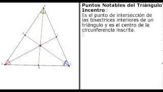 Puntos notables en un triángulo incentro