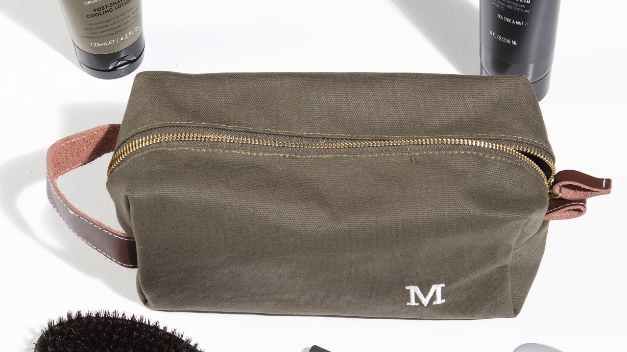 Groomsday Personalized Men s Waxed Canvas and Leather Dopp Kit - YouTube 13d93b421c54a