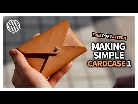 [Leather Craft] Making a simple leather card case / business card case /tutorial / free PDF template