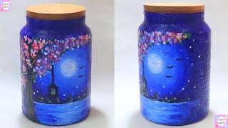 DIY Jar Painting/Moonlight Night Landscape Painting/Bottle Decoden/Craft Jar/Bottole craft