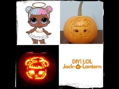 Pumpkin Carving - Sugar & Spice! Halloween LOL SURPRISE DOLL pumpkin! DIY FOR KIDS! Rainbow Ally