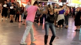 Gals Dancing And Having A Good Time AT Fremont Street Experience Downtown Las Vegas