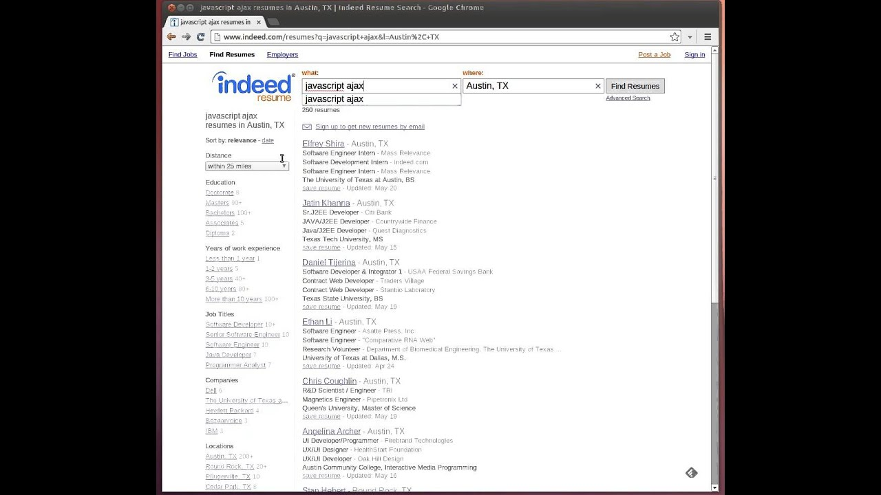 Indeed Resume Finder Indeed Resume Search Youtube