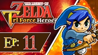 Tri Force Heroes - Part 11 | Volcano - Den of Flames! [3-Player 100% Walkthrough]