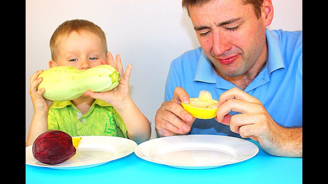 Новый ЧЕЛЛЕНДЖ Обычная еда против Фруктов! Съели ЛИМОН Смешная реакция детей на лимон Детский влог