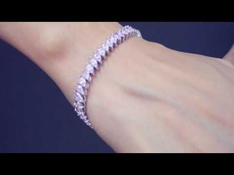 inlaid marquise pink cz bracelet