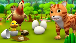 Hen's Eggs And Funny Cat Story - मुर्गी के अंडे और नटखट बिल्ली कहानी 3d Kids Hindi Moral Stories