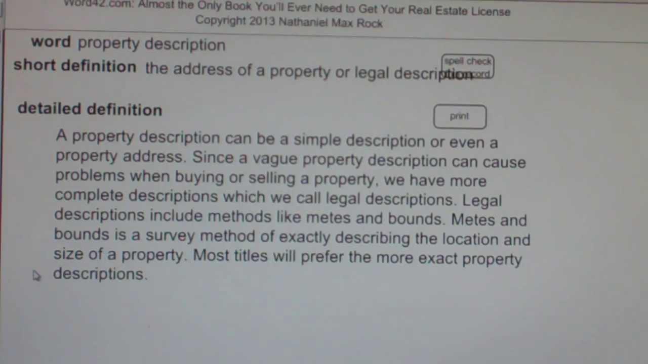 property description CA Real Estate License Exam Top Pass Words ...