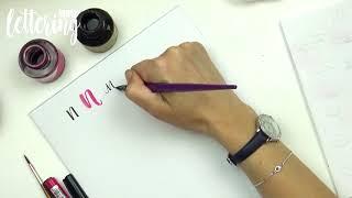 Mektup Nn ile el yazı alfabe - dört yol
